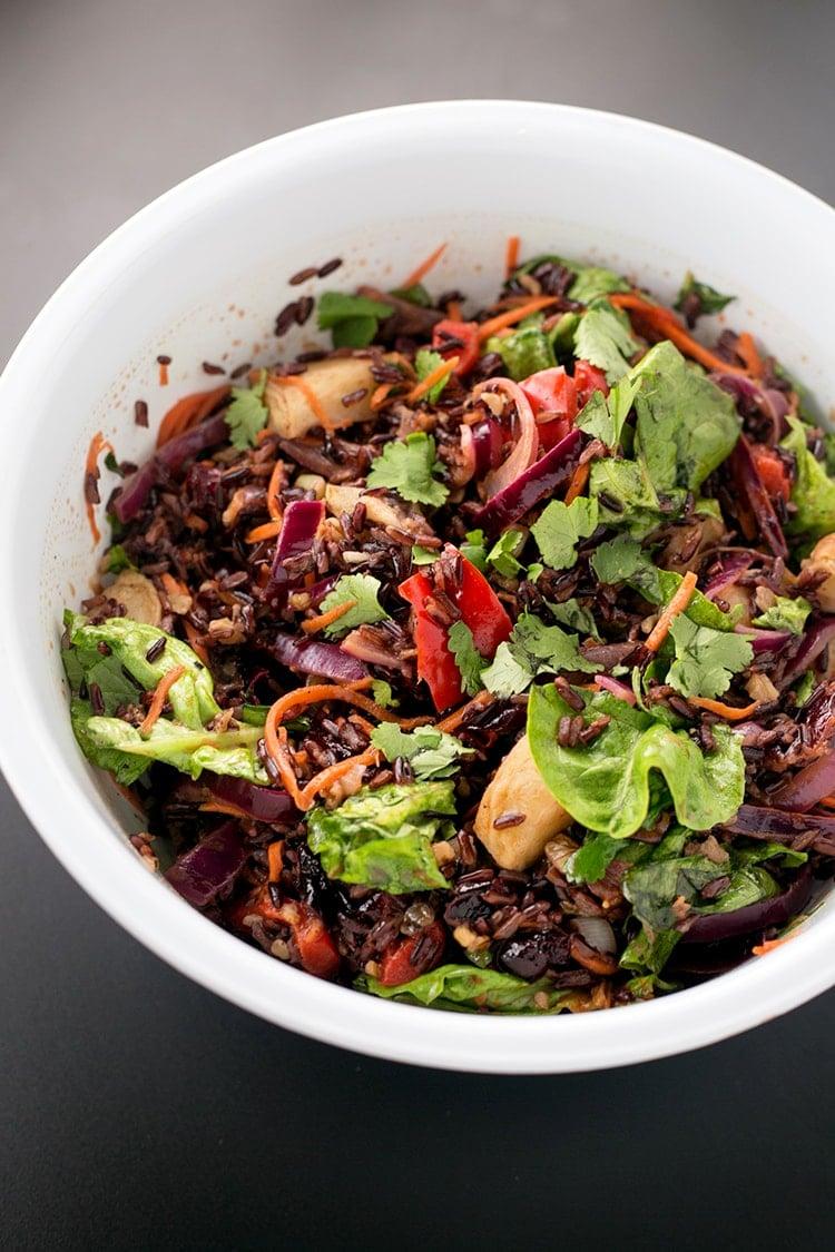 Vegan Forbidden Black Rice Salad - Black Rice Studded with Roasted Veggies, tossed with an Apple Cider Vinegar Dressing. V/GF