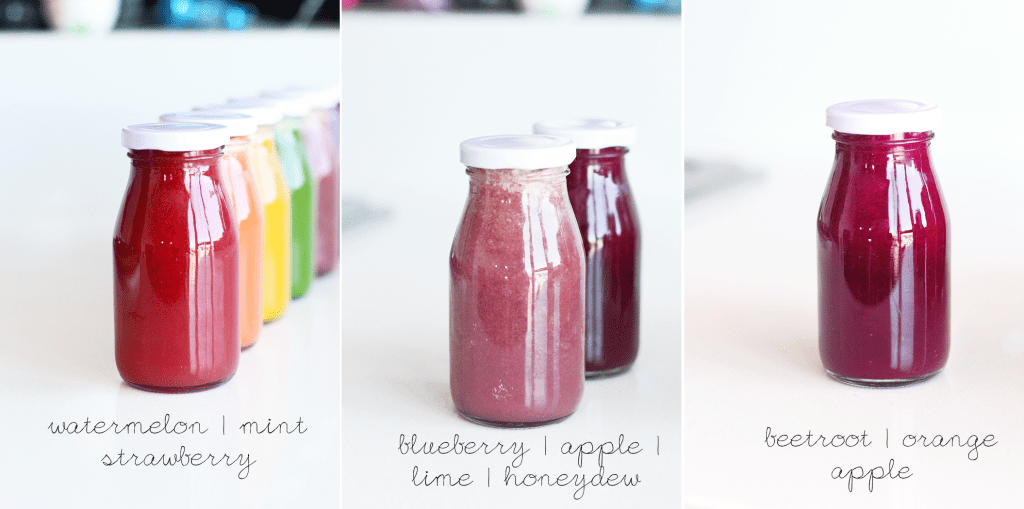 Cold Pressed Rainbow Juices | Healthy, colorful, delicious cold pressed juice recipes perfect for detoxing and dieting. #coldpressed #juices #rainbow #recipe #vegan #healthy #diet #detox
