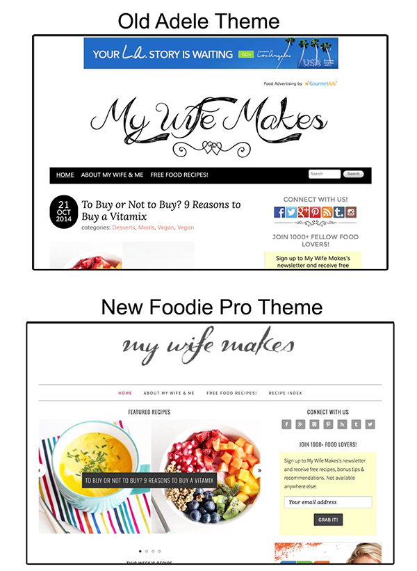 Crazy Vegan Kitchen | Old and New Food Blog Theme Compared
