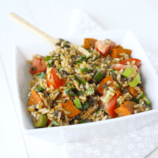 Brown Rice Black Lentil Salad