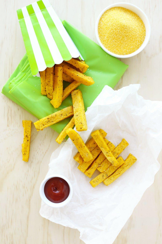 Baked Polenta Fries Chips Crazy Vegan Kitchen