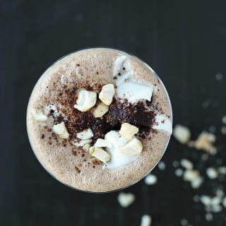 MyWifeMakes.com | Delicious creamy Vegan Iced Mocha made with homemade cashew milk, coconut whipped cream, and a decadent dash of Kahlua. Simply satisfying! #vegan #icedmocha #mocha #coffee #caffeine #coconut #whippedcream #kahlua #veganfood #veganrecipe #recipe #drink