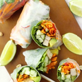 Easy recipe for vegan rice paper rolls with hoisin peanut dipping sauce. Filled with avocado, carrots, cucumbers, chilies, and other healthy ingredients. #ricepaperrolls #rolls #ricepaper #vegan #healthy #vietnamese #recipe #veganrecipe #veganfood
