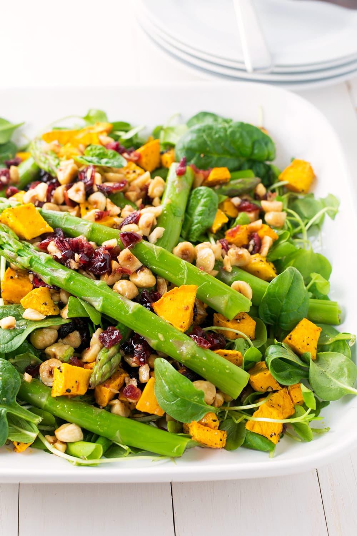 Pumpkin Asparagus Salad with Hazelnut Cranberry Dressing