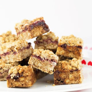 Vegan Oatmeal Cookie Bars with Homemade Strawberry Chia Seed Jam