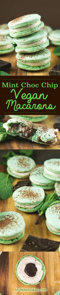 Mint Chocolate Chip Vegan Macarons using Aquafaba (Chickpea Brine). Sweet, Minty, full of Chocolate and 100% delicious. #vegan #macarons #aquafaba #chickpea #chocolate #veganrecipe #dessert #veganmacarons #sweets #dessert #recipe