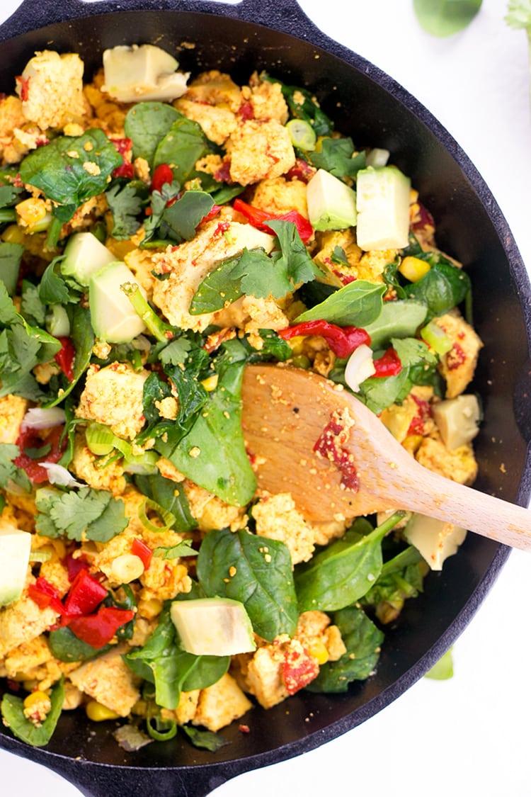 Simple Tofu Scramble - Vegan, Gluten Free, Protein Packed and simple to make. #vegan #glutenfree #tofu #tofuscramble #healthy #foodporn #recipes