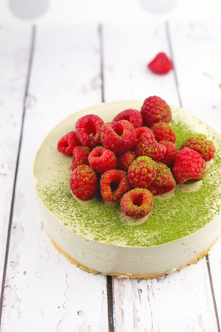 Vegan Matcha Cheesecake - shortbread base and creamy matcha cheesecake topping. #missmatchatea #cheesecake #cashews #vegan #shortbread #foodporn #dessert #dairyfree #greentea #veganrecipe