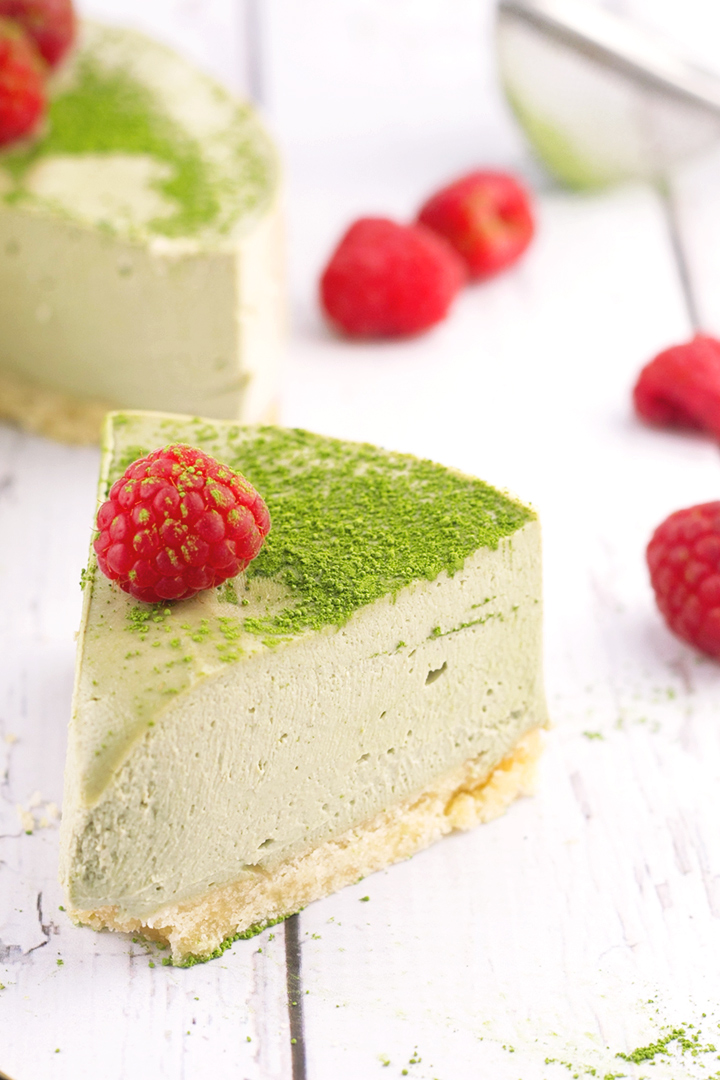 Vegan Matcha Cheesecake - shortbread base and creamy matcha cheesecake topping. #missmatchatea #cheesecake #cashews #vegan #shortbread #foodporn #dessert #dairyfree #greentea #veganrecipe