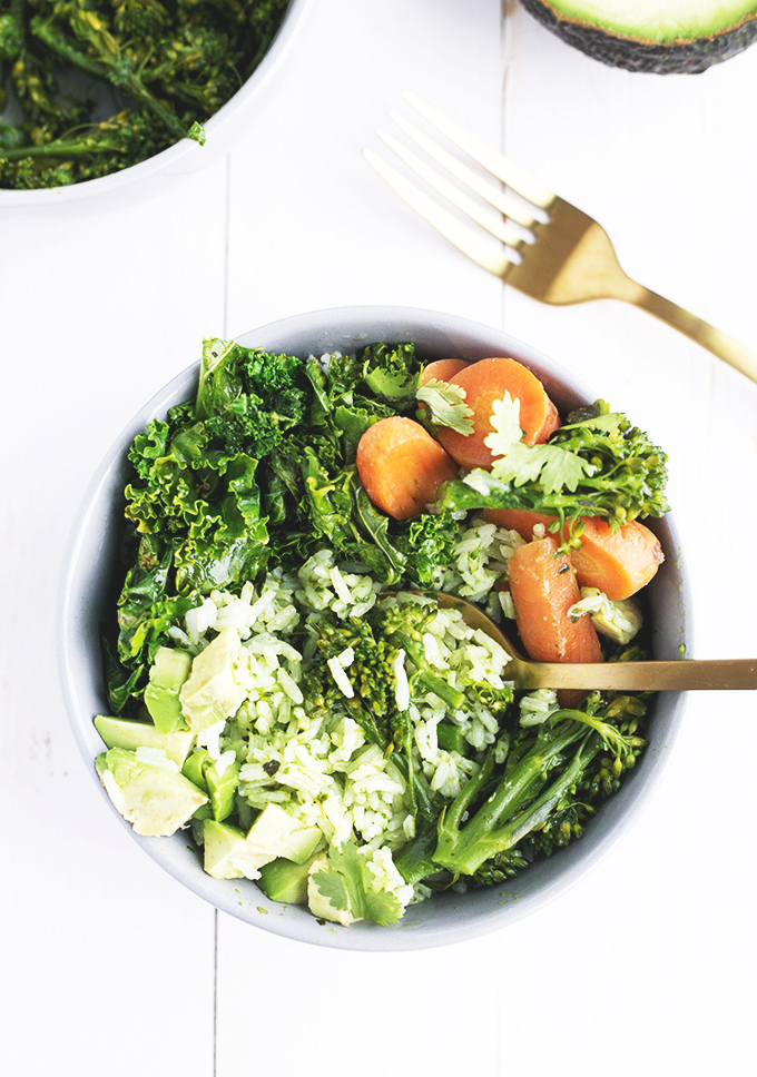 Green Detox Bowl - Thai Basil and Coriander Pesto stirred into rice, topped off with Sauteed Lemon Kale, Broccolini, Carrot and Avocado. #recipe #detox #vegan #healthy #rice #pesto #foodporn