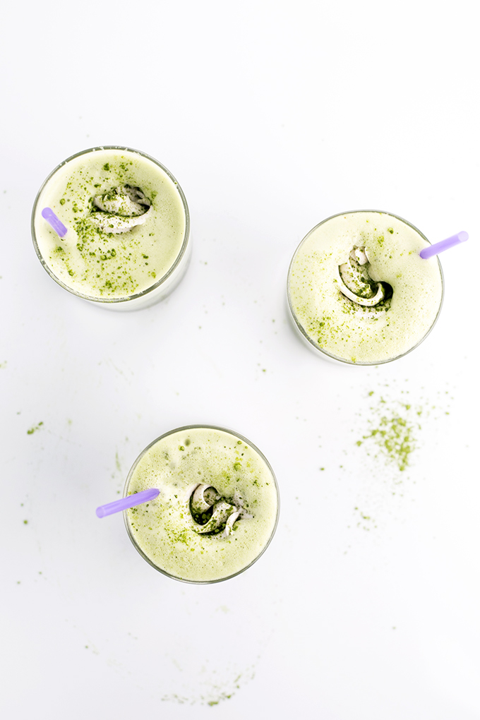 Iced Matcha Green Tea Frappés with Whipped Coconut Cream Topping. #vegan #glutenfree #healthy #matcha #greentea #frappe #drinks #foodporn