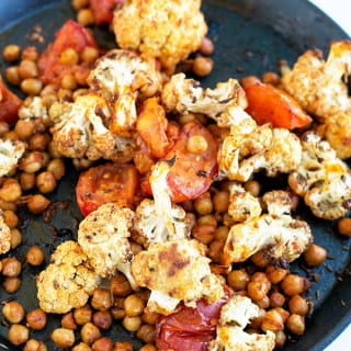 Spiced Cauliflower and Harissa Chickpea Salad