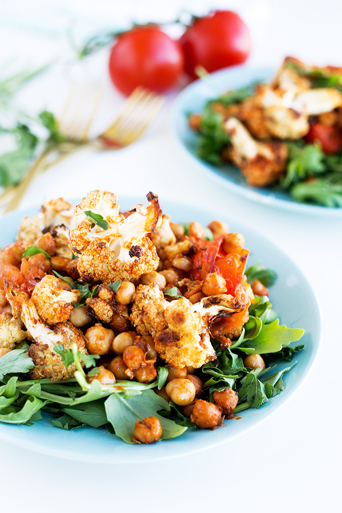 Spiced Cauliflower and Harissa Chickpea Salad - light, simple, healthy. #vegan #chickpea #harissa #tomato #cauliflower #vegan #detox #foodporn