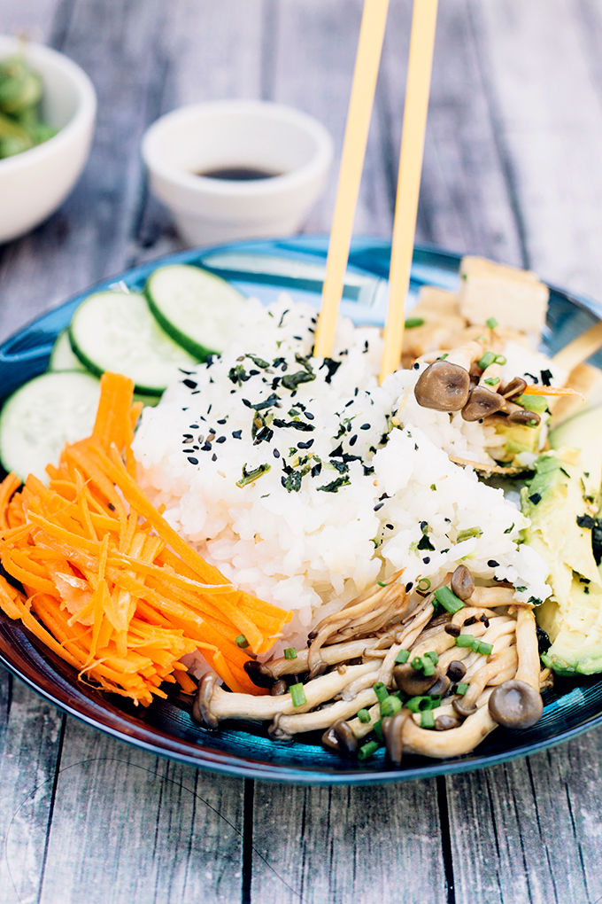 Happy Healthy Vegan Sushi Bowl - a Rice Bowl version of Sushi, without the rolling. Healthy, Gluten Free, HCLF #vegan #sushi #asian #healthy #glutenfree