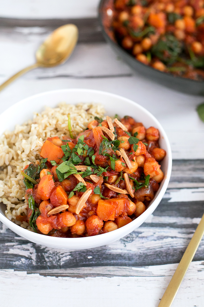 Vegan Spanish Chickpea And Sweet Potato Stew - healthy, hearty, and made in under 45 minutes. #vegan #recipes #veganfood #healthy #delicious #chickpeas #spinach #stew