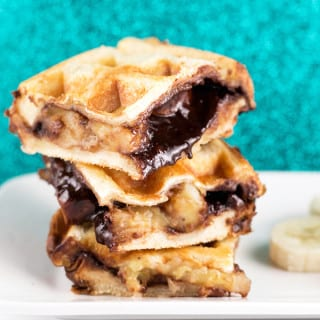 Vegan Waffled Nutella Banana Sandwich