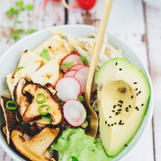Healthy Vegan Buddha Bowl With Shiitake Mushrooms And Cilantro Tahini Dressing
