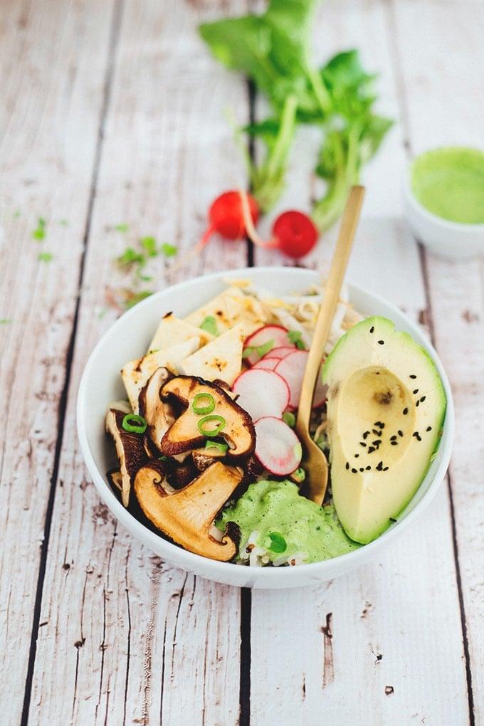 Delicious Healthy Vegan Buddha Bowl With Quinoa, Rice, Teriyaki Shiitake Mushrooms, Veggies And A Cilantro Tahini Dressing. #vegan #buddha #bowl #healthy #vegetarian #tahini #mushrooms #hclf #recipes