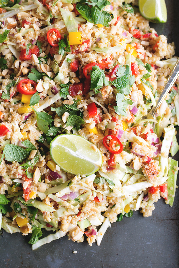 Vegan Thai Quinoa Salad with Peanut Lemongrass Dressing - a healthy quinoa salad loaded with veggies, herbs and a lemongrass peanut dressing. #vegan #healthy #peanut #lemongrass #quinoa #simple #recipe