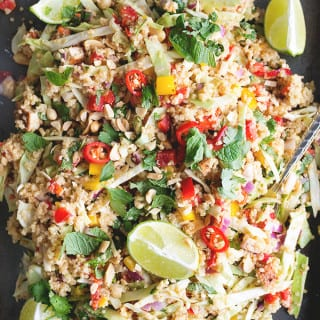 Vegan Thai Quinoa Salad with Peanut Lemongrass Dressing