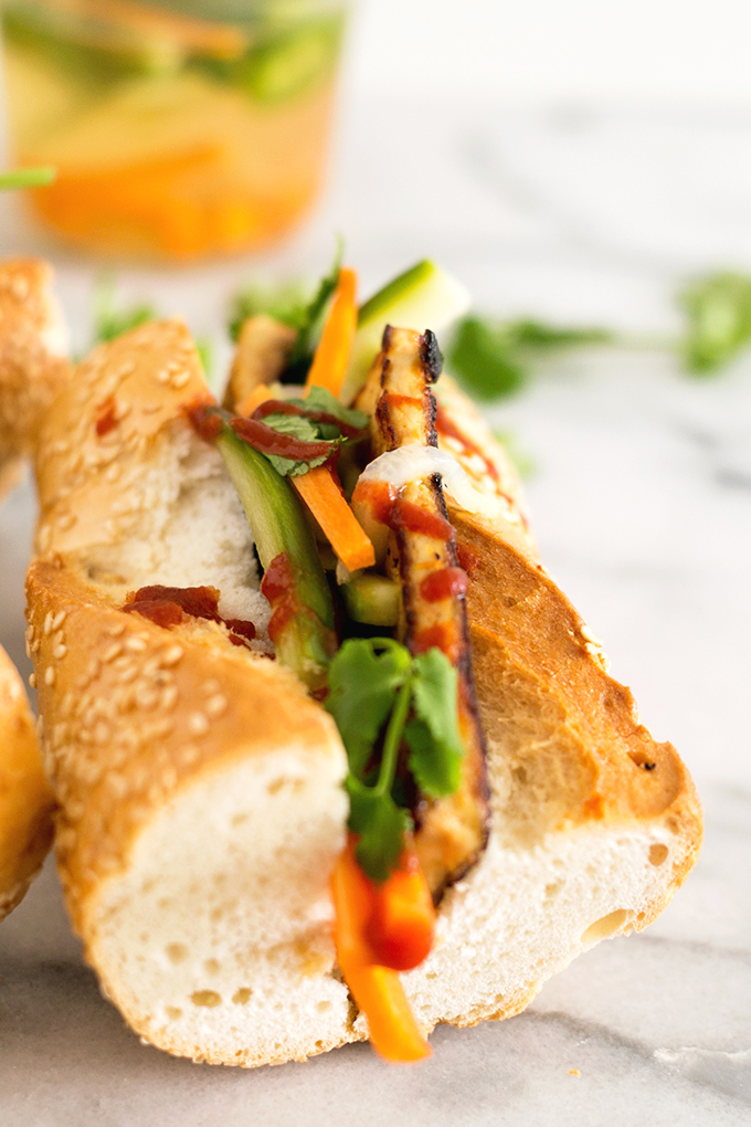 Vegan Banh Mi Sandwiches With Seared Tofu and Pickled Vegetables #vegan #healthy #delicious #vietnamese #delicious #simple #sandwiches #tofu #vegetables