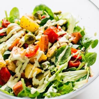 Vegan Roasted Vegetable Salad with Avocado Dressing