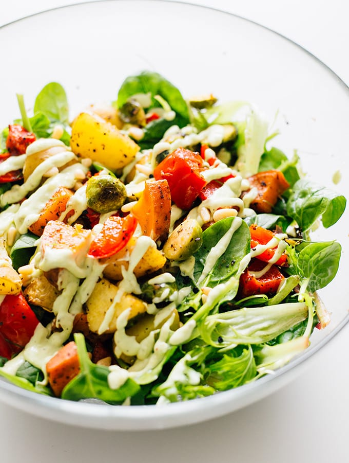 Vegan-Roasted-Vegetable-Salad-with-Avocado-Dressing-6