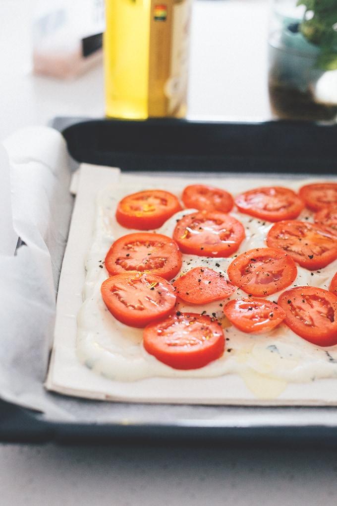 Easy Vegan Tomato Tart on Puff Pastry with Tofu Basil Cream #simple #delicious #tofu #dairyfree #vegan #vegetarian #veganrecipes #recipes #healthy #simple