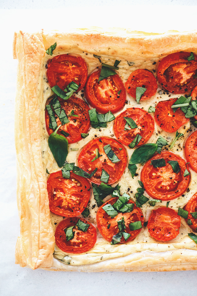 Easy Vegan Tomato Tart on Puff Pastry with Tofu Basil Cream #simple #delicious #tofu #dairyfree #vegan #vegetarian #veganrecipes #recipes #healthy #simple