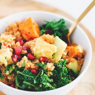 Detox Vegan Quinoa Salad with Kale and Pomegranate