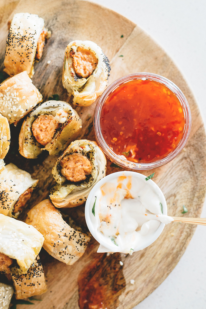 Fancy Vegan Sausage Rolls - Vegan Sausage Rolls with Pesto, Sun Dried Tomato and Vegan Mozzarella. A quick Christmas appetizer for your friends and family. Easily done in under 30 minutes.