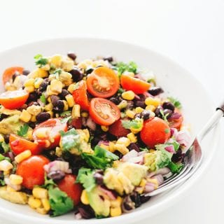 Vegan Black Bean Salad with Avocado and Corn