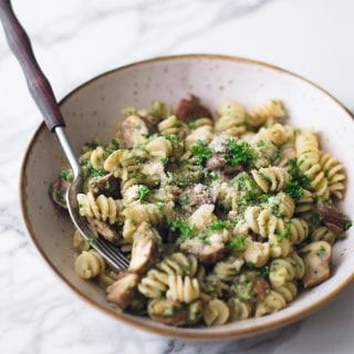 Vegan Mushroom Pasta with Parsley Chestnut Pesto