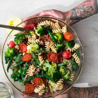 Vegan Lemon Tahini Pasta Salad