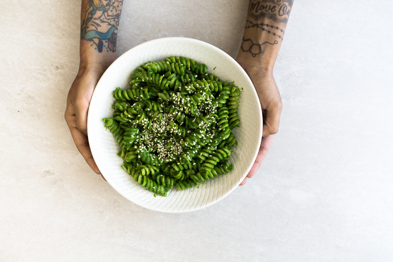 A simple Miso Pesto Pasta recipe made in under 15 minutes. Dairy Free, Vegan and loaded with Baby Spinach and Cilantro. Yum! #vegan #pesto #miso #asian #pasta #veganpesto #pestopasta #healthy #simple #easy #quickrecipes
