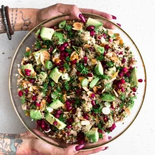 Vegan Quinoa Crunch Salad with Pomegranate