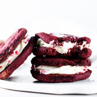 Vegan Red Velvet Cookies with Cream Cheese Frosting