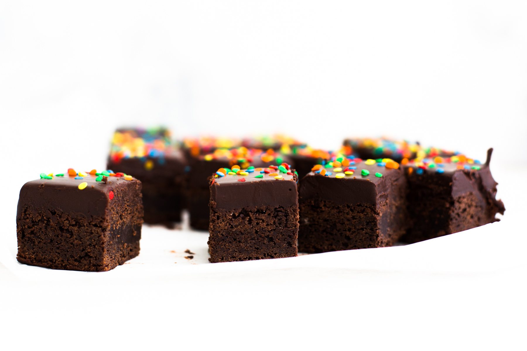 Vegan Cosmic Brownies - a Little Debbie classic veganized. Delicious Vegan Fudge Brownie topped with Chocolate Ganache and Sprinkles. #vegan #cosmic #brownies #chocolate #veganbrownies #littledebbie #american #chewy #ganache #icing #veganbaking #vegancosmicbrownies #onebowl